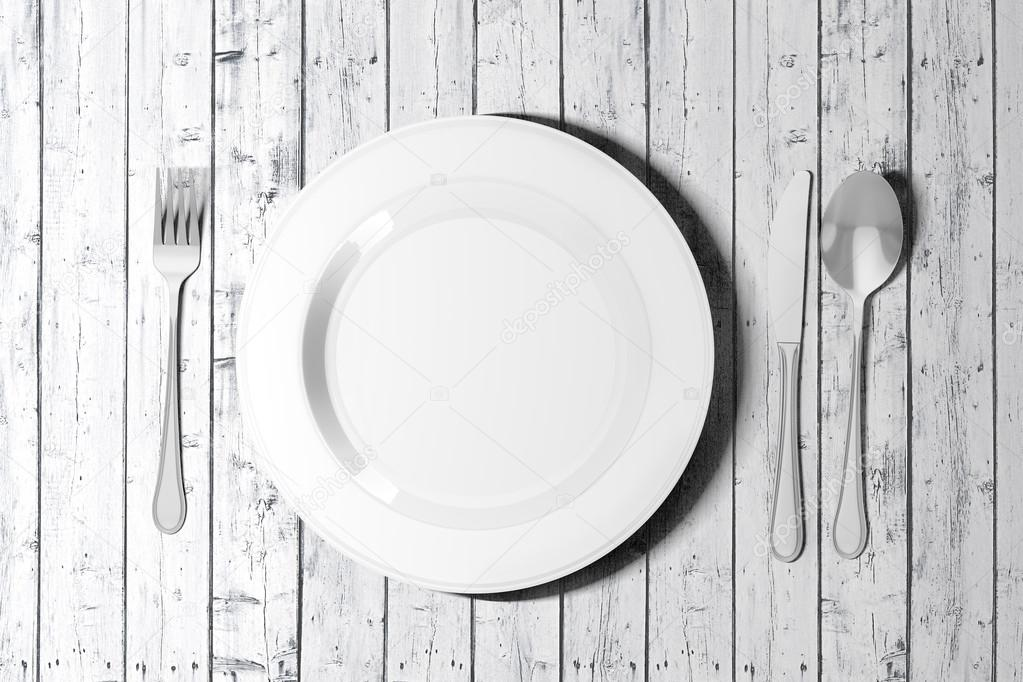 3d table setting with white empty plate, fork knife and spoon ...