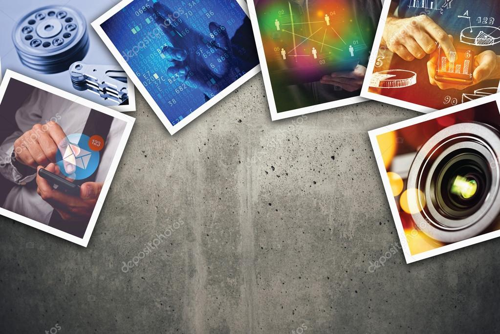 Modern computer information technology photo collage — Stock
