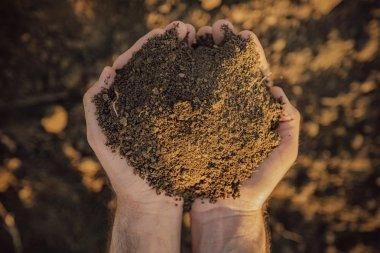 Farmer holding pile of soil on fertile agricultural land