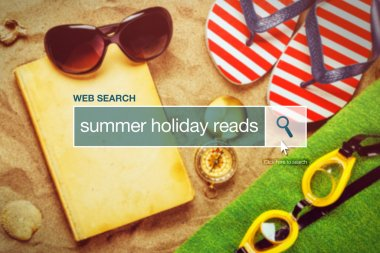 Web search bar glossary term - summer holiday reads definition in internet glossary. stock vector
