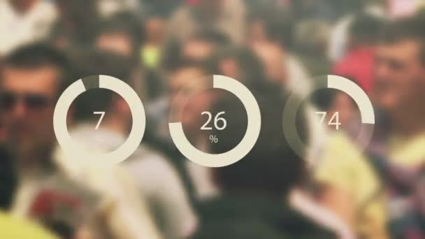 General public infographics footage with blur crowd in background