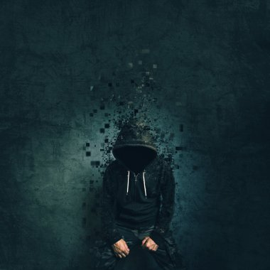 Spooky evil criminal person with hooded jacket dissolving