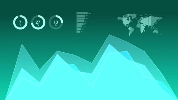 Moderní infografiky animace, skládaný plošný graf, výsečové grafy a diagram
