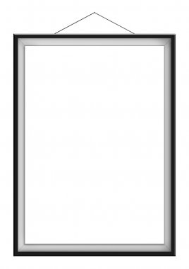 Blank vertical painting in black frame hanging on the wall, isolated on whte background. Painting proportions match international paper size A. stock vector