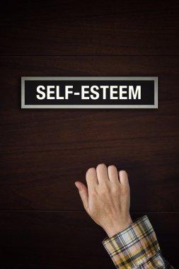 Hand is knocking on Self-esteem boost door