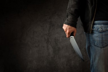 Criminal with large sharp knife