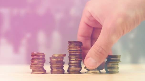 Ruční stohování mince jako úspory peněz, Správa domácí rozpočet a finance