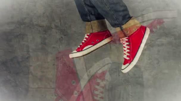 Loopable Stop-Motion-Animation eines jungen Menschen in Jeans und roten Turnschuhen beim Laufen