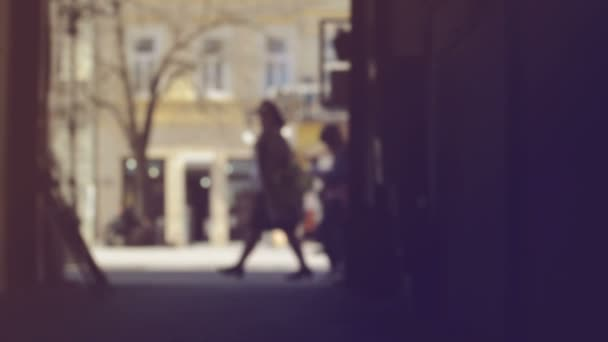 Blur Crowd of People Walking On the Street in Bokeh, unrecognizable group of men and women as blur urban background