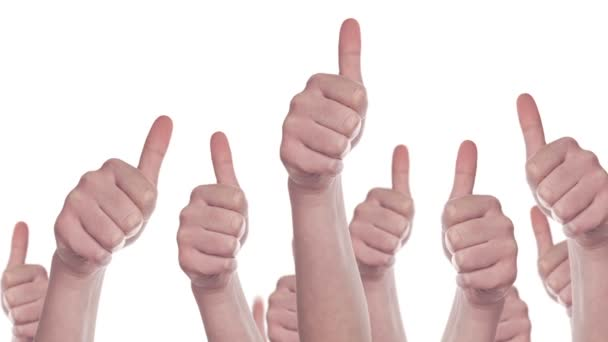 Group of Caucasian white People making Hand Thumbs Up sign as Like, Approval or Endorsement Concept, 1920x1080 steady full HD footage