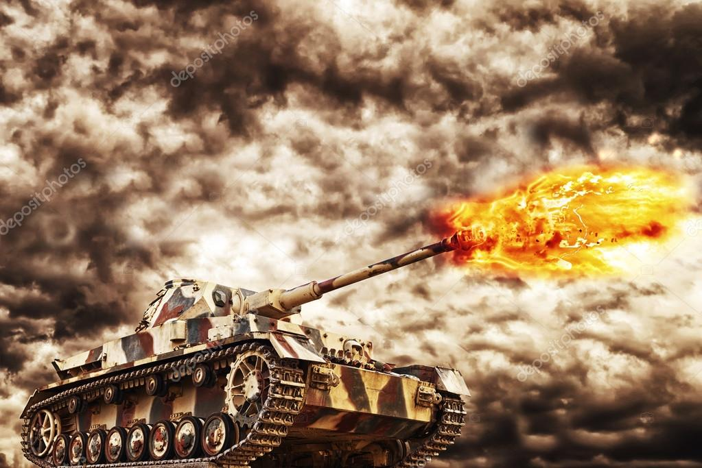 Military Tank firing with dark storm clouds in background, concept of war and conflict. stock vector