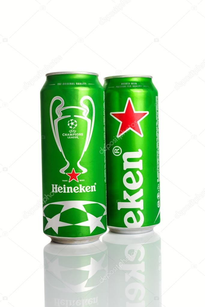 Lata de cerveja Heineken com a Uefa Champions League Logo