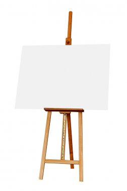 Wooden Easel with Blank Painting Canvas as Copy Space for Mock Up Isolated on White Background stock vector