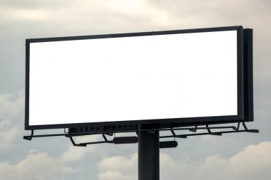 Blank Outdoor Advertsing Billboard Against Cloudy Sky