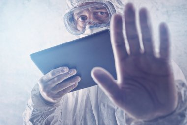 Medical Scientist Reading Internet Pages About MERS Virus on Figital Tablet Computer stock vector
