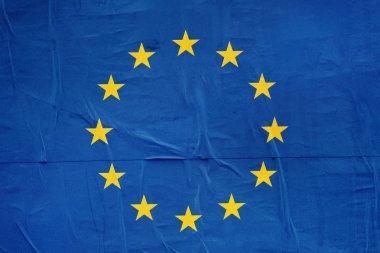 European Union EU Flag Print on Grunge Poster Paper, Retro Tone Vintage Effect stock vector