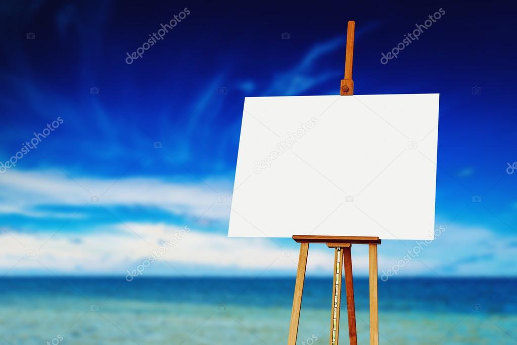 Easel with Blank Canvas on the Beach