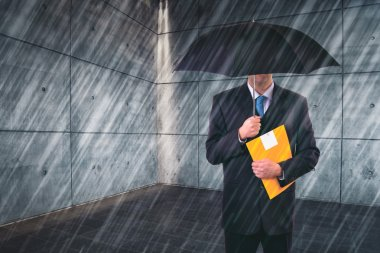 Insurance Agent with Umbrella in Urban Setting