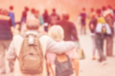 Blur Crowd of Elderly People, General Public Concept