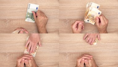Corruption concept, man giving bribe money to woman