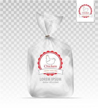 Empty Transparent plastic gift bag with logo chicken. Logo design template. Company logo design. clip art vector
