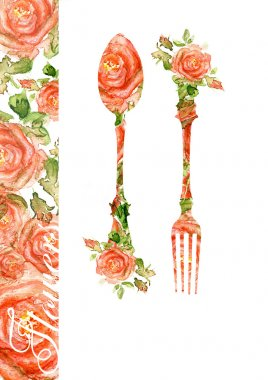 Fork and spoon. Silhouette of roses, watercolor