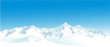 Winter landscape with high mountains stock vector