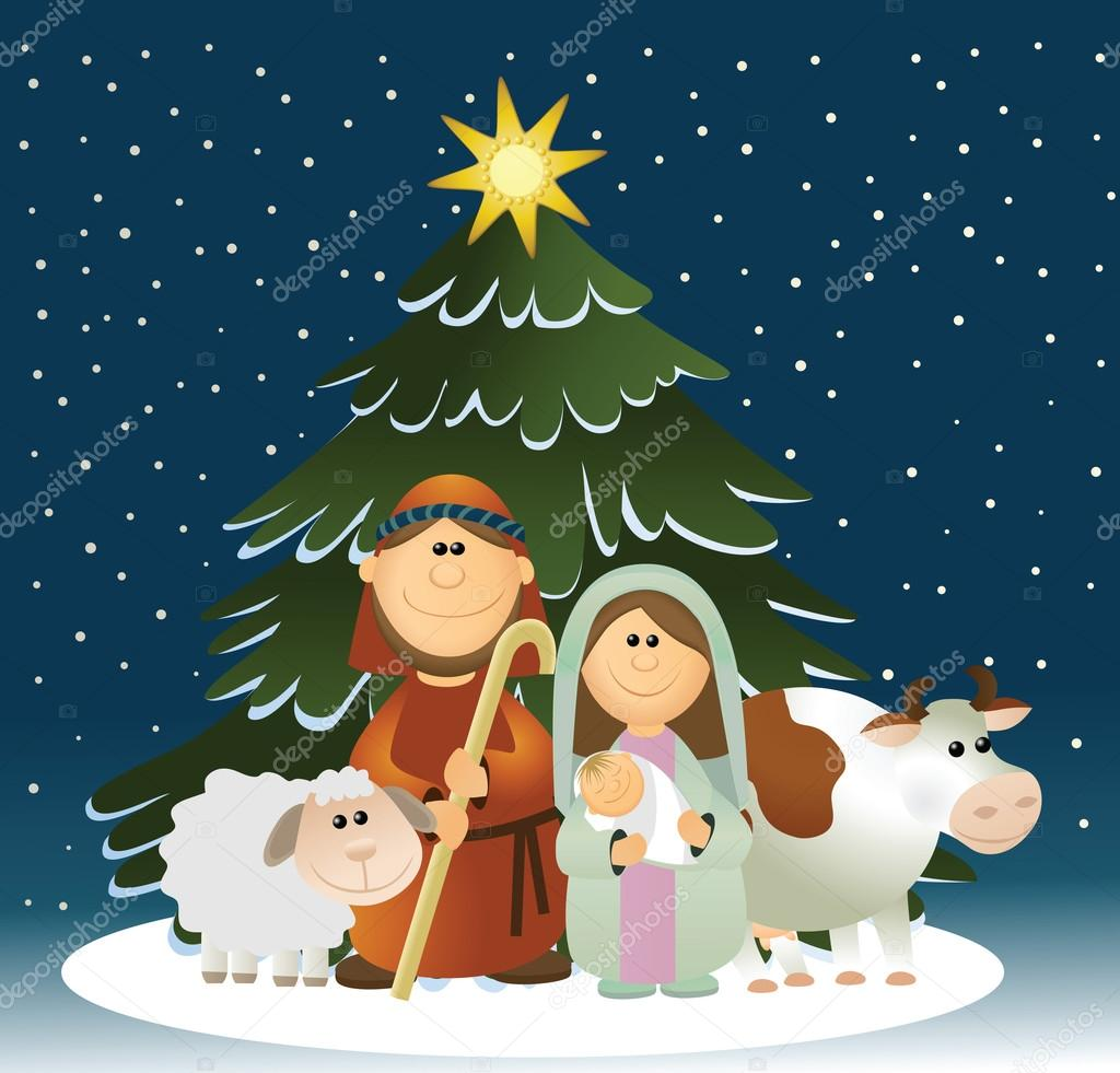 Pesebre de navidad con sagrada familia archivo im genes - Dibujos postales navidad ninos ...