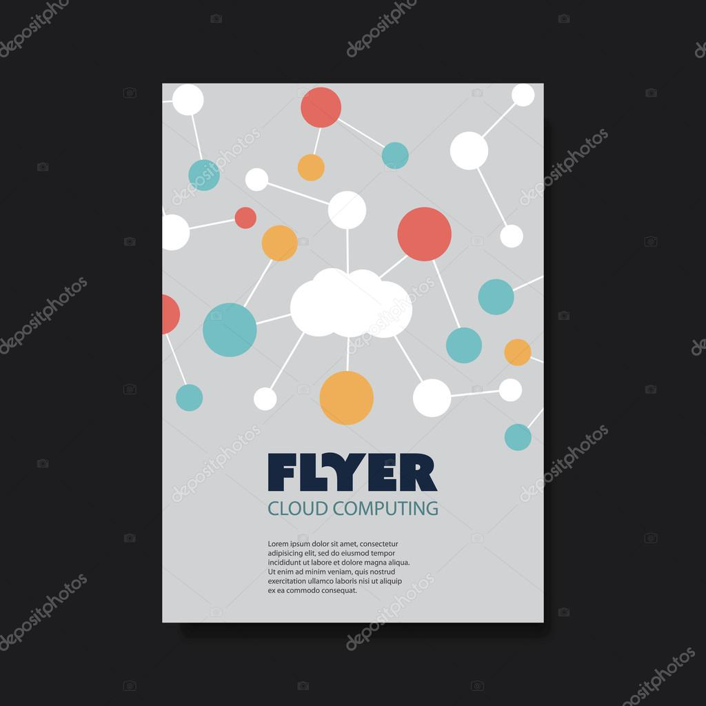 flyer of cover design template with cloud computing networks design