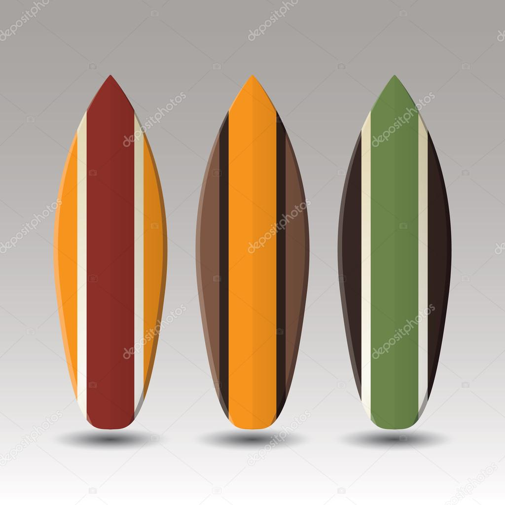 Vector Surfboards Design With Striped Pattern Stock Vector