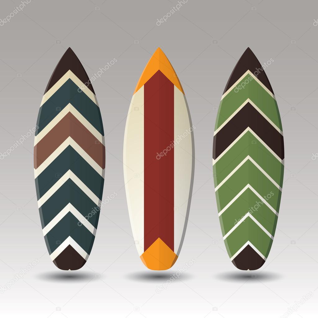 Dise o de tablas de surf de vector con patr n de rayas - Disenos de tablas de surf ...