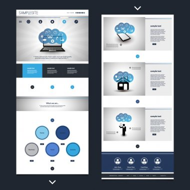 One Page Website Template with Cloud Computing Theme, Header Designs