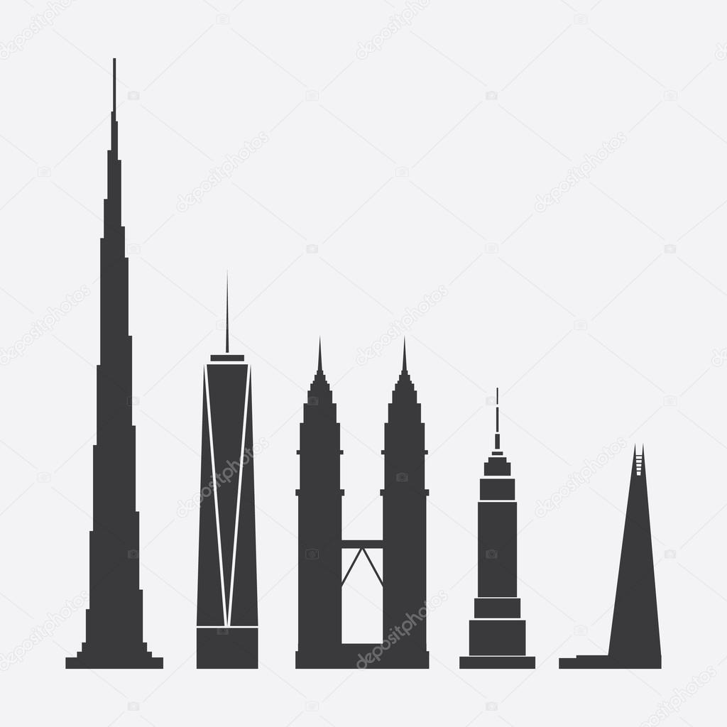 Collection of Abstract Vector Illustrations of Five Famous Skyscrapers: Burj Khalifa, One World Trade Center, Petronas Towers, Empire State Building, The Shard