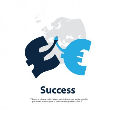 Together Is Better - Let UK Stay in the EU - Design Template With British Pound And Euro Signs Hand in Hand