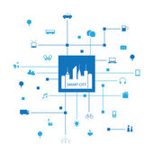 Photo Blue Smart City Design Concept with Icons
