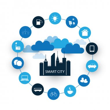 Internet of Things, Smart City Mobile Networking Design Concept with Icons