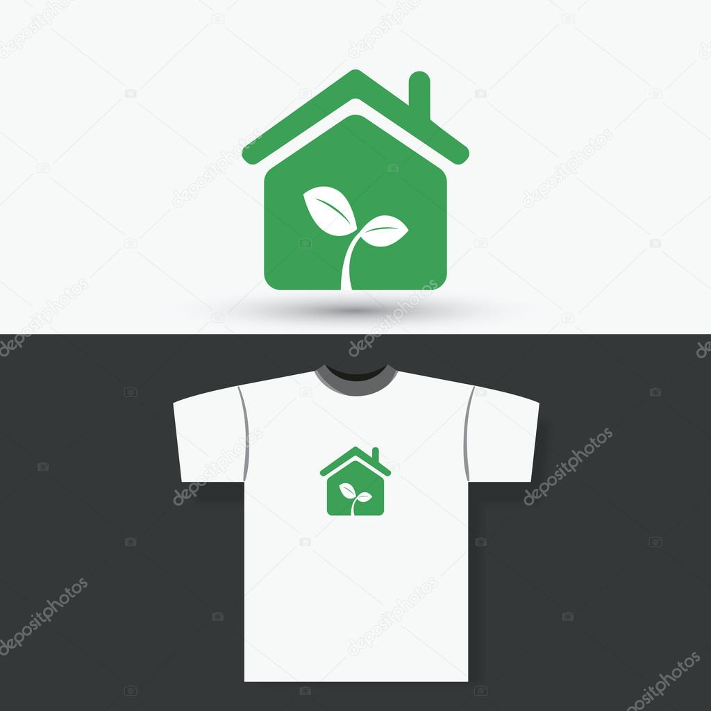 T-shirt Print Design Concept With Eco Home — Stock Vector © bagotaj ...