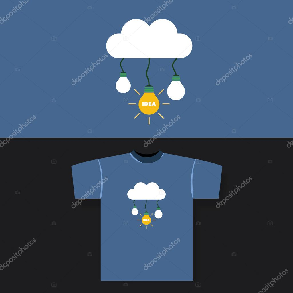 T-shirt Print Design Concept - Cloud and Bulbs