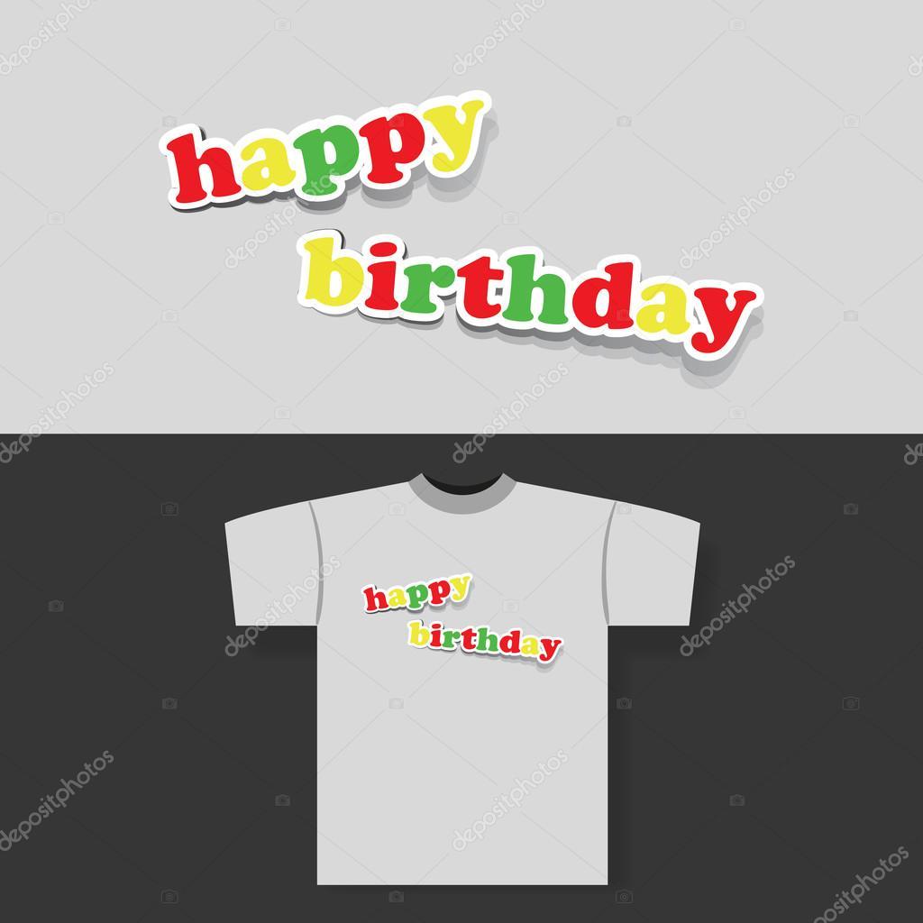 0fa42be6ed Póló nyomtatás koncepció, színes papír vágott boldog születésnapot Banner —  Stock Vector