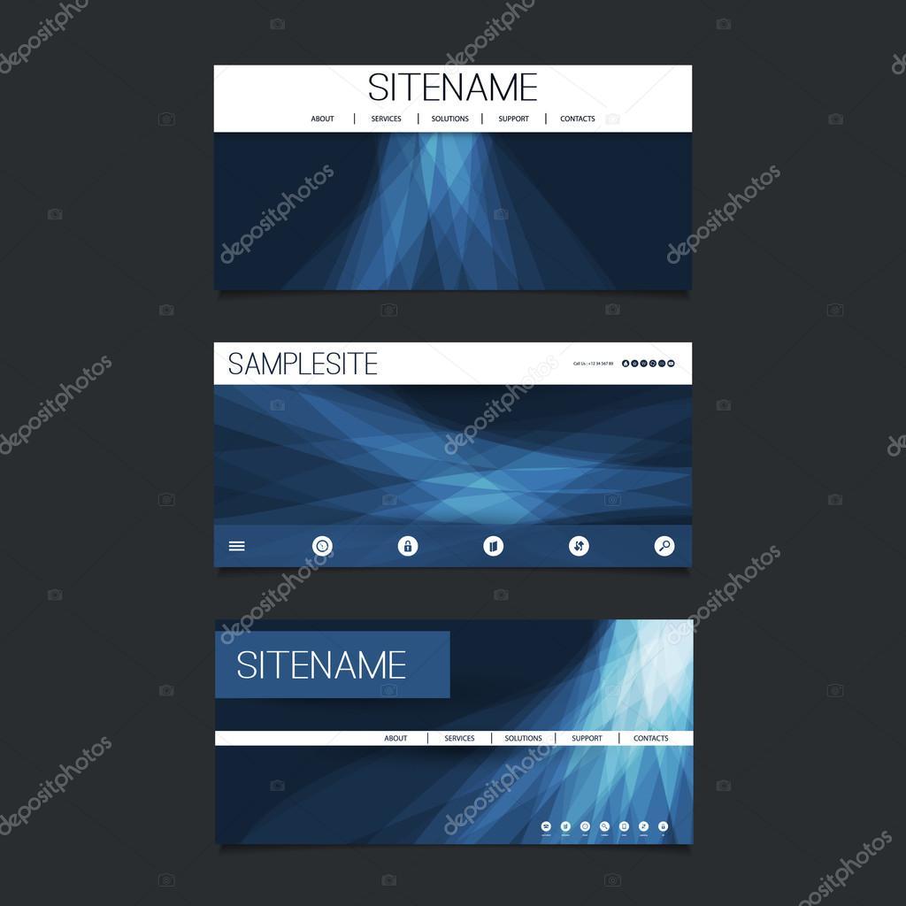 Web-Design-Elemente - Header Design Set mit dunkel blaue abstrakte ...