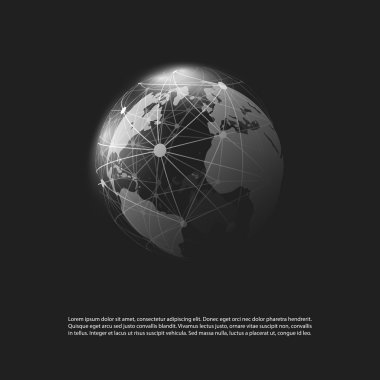 Cloud Computing and Networks Concept Design on Black Background