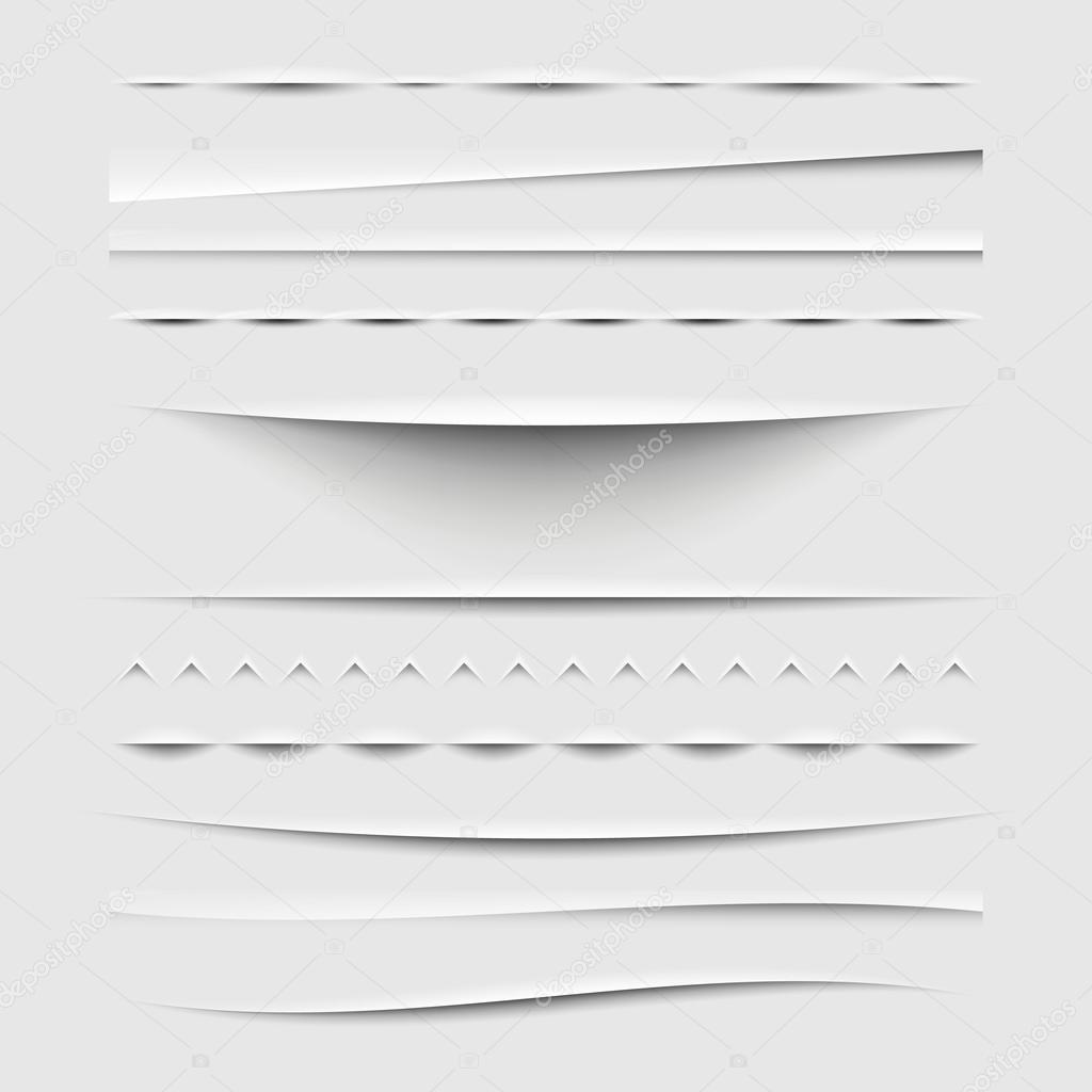 web dividers and shadows template design element set stock