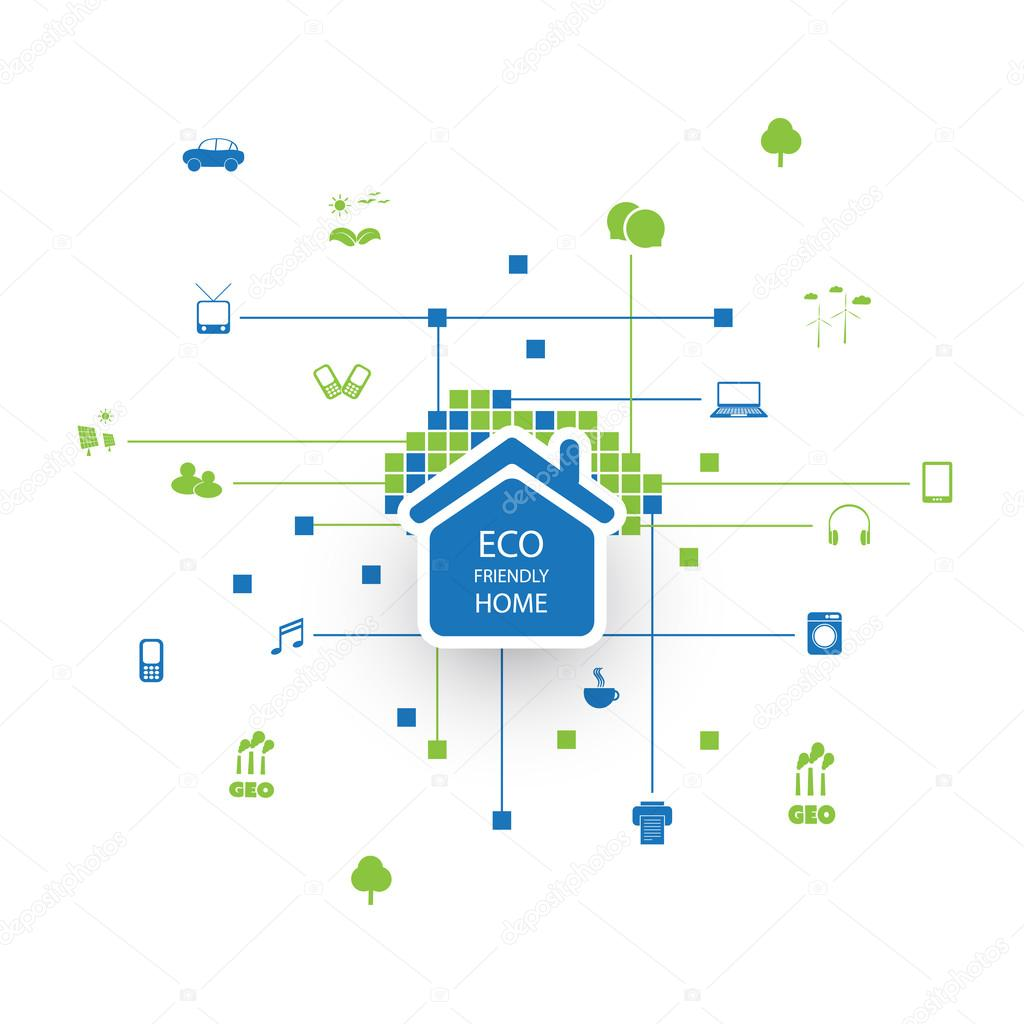 Eco Friendly Smart Home Design Concept with Icons — Stock Vector ...