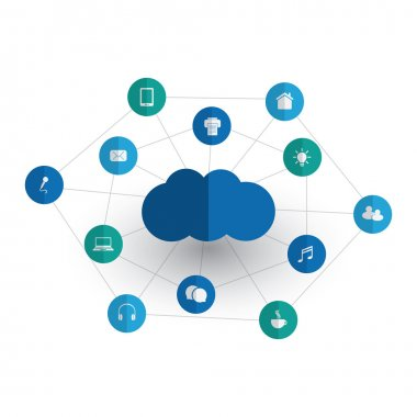 Digital World - Networks, IoT and Cloud Computing Concept Design with Icons