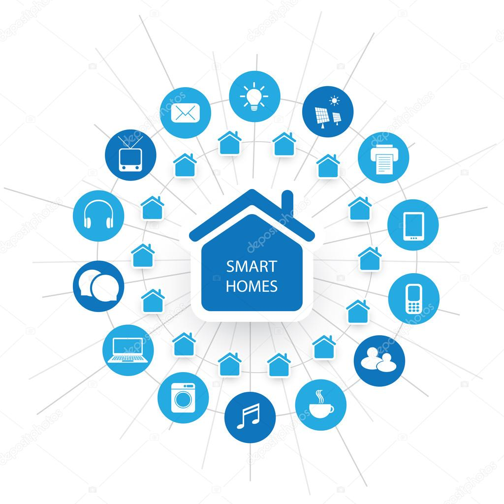 Eco friendly smart home design concept with icons cloud for Digital home designs