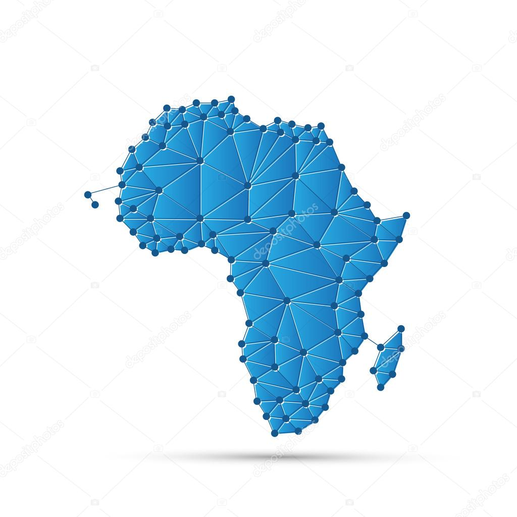 Abstract polygonal map of africa with digital network connections abstract polygonal map of africa with digital network connections minimal modern style technology background gumiabroncs Gallery