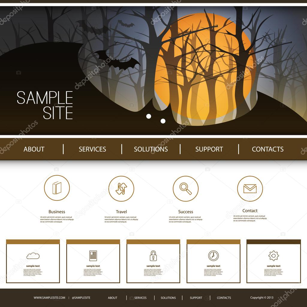 Website Design For Your Business With Halloween Theme Stock Vector