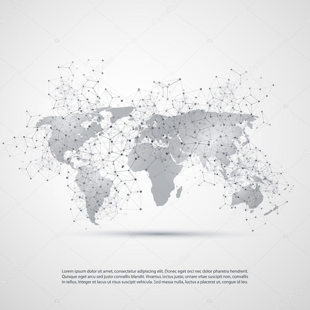 Cloud computing and networks concept with world map global digital abstract black and white modern cloud computing and global digital network connections it or technology concept background or cover creative design element gumiabroncs Image collections