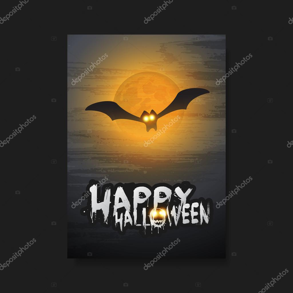 happy halloween card flyer or cover template flying bat with