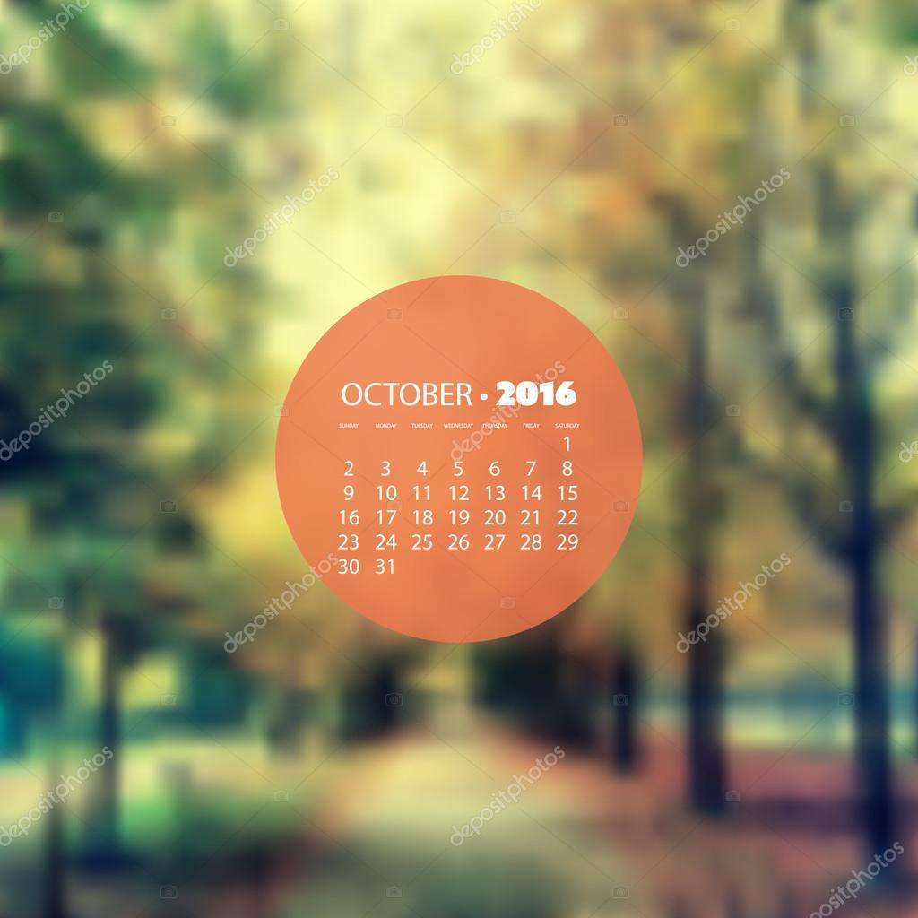 Calendario Boschi.Mensile Calendario 2016 Ottobre Sfocato Sfondo Design